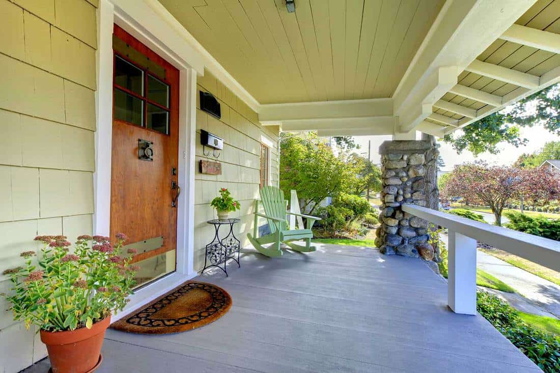 Covered front porch of theold craftsman style home