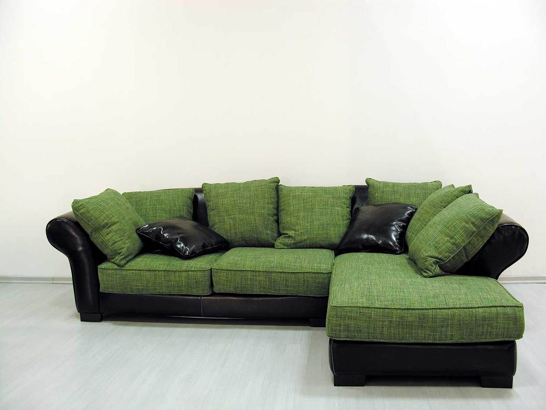 Cozy green and black corner sofa