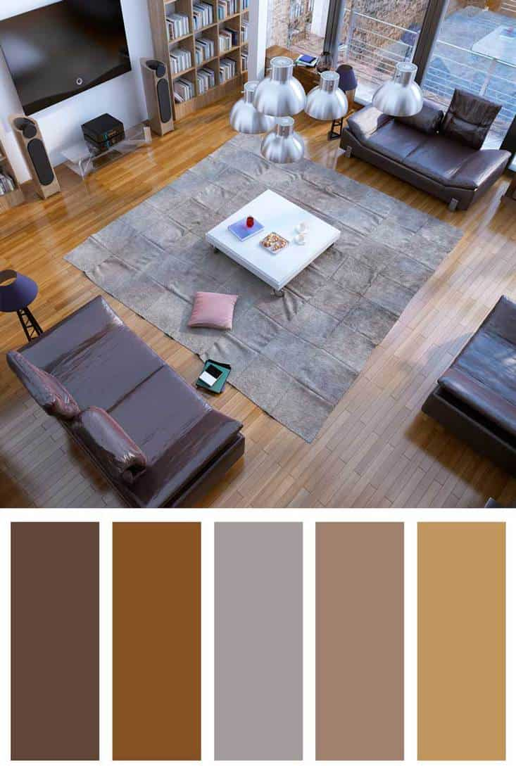 Design of contemporary living room with brown leather sofa
