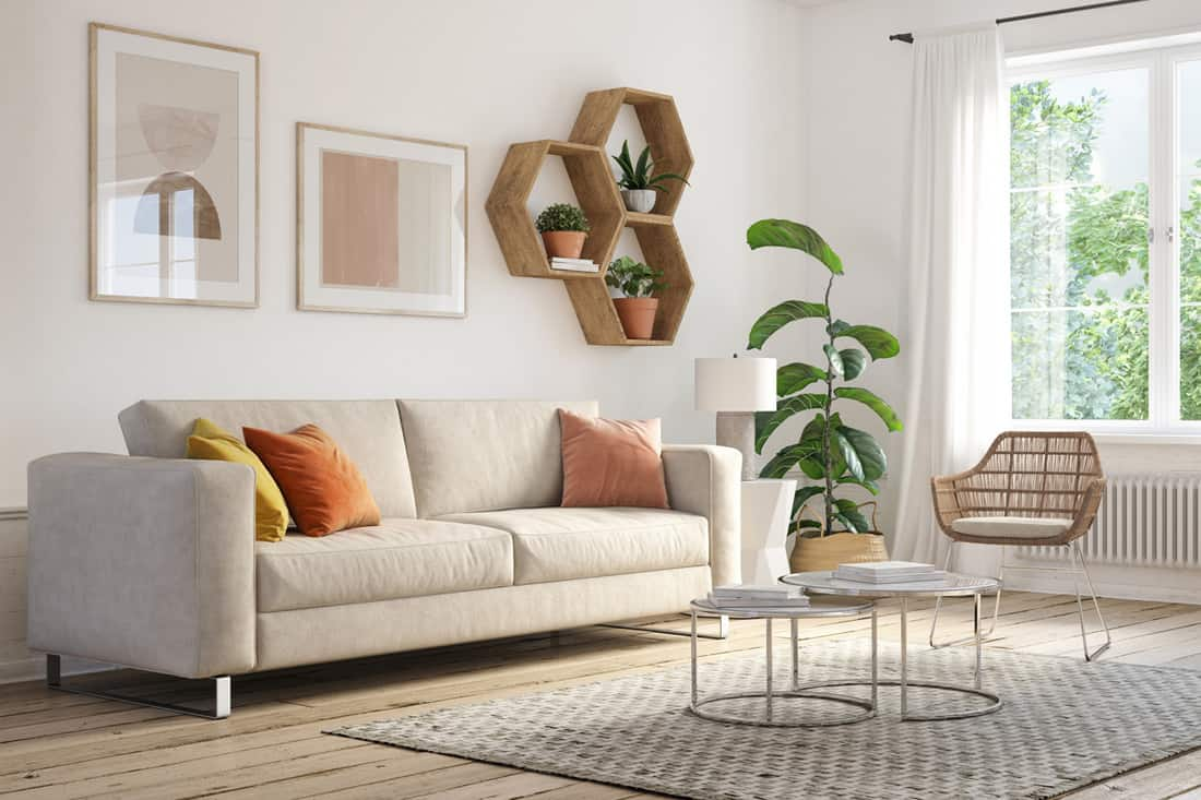 Dirty white couch with colored pillows and hexagon shaped divider on wall, Where To Buy Foam For Couch Cushions [Top 30 Online Stores]