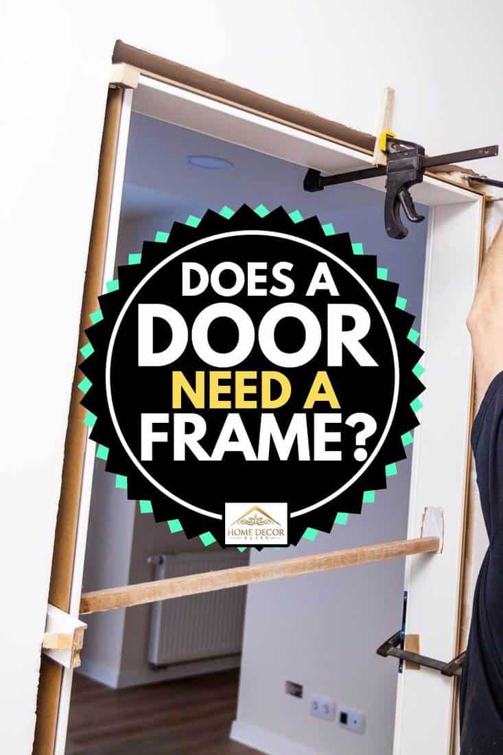 Construction worker installing door in home. Handyman installing door with an mounting foam in a room. Worker assembles the door frame, Does A Door Need A Frame?