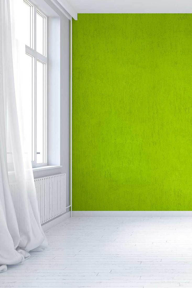 Empty vintage interior with lime green textured plaster wall, windows and curtains