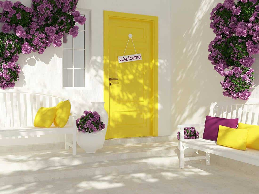 Entrance of a modern house with yellow door