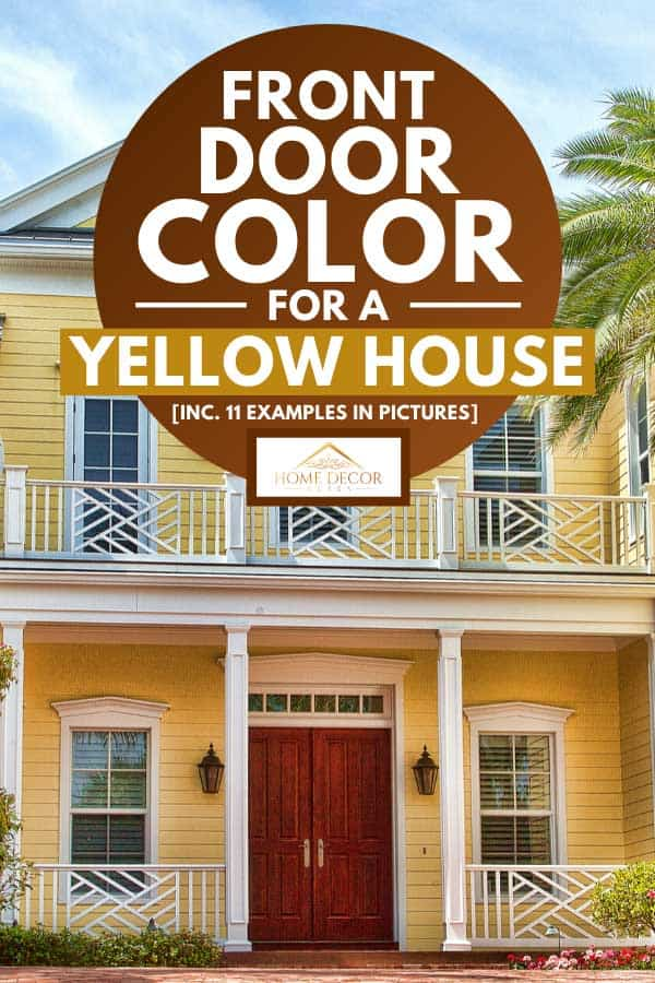 Luxury elegant new yellow beach home with brownish double door, Front Door Color For A Yellow House [Inc. 11 Examples in Pictures]