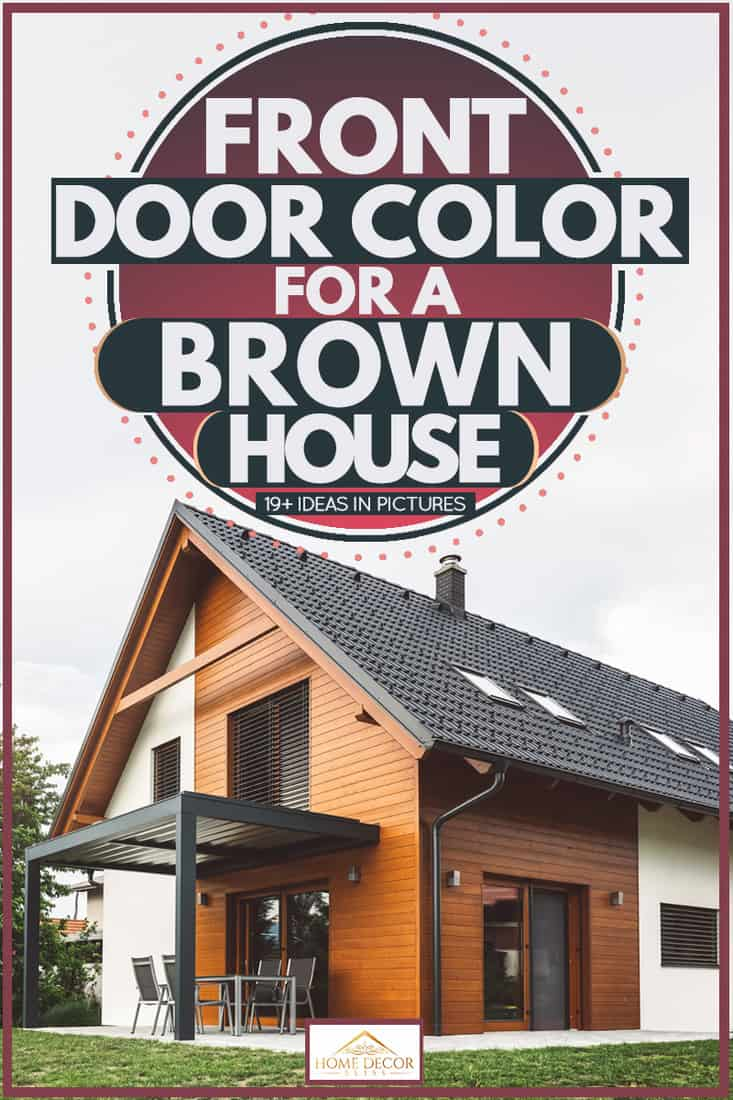 A house with brown wood like cladding, glass windows, and a black glass door, Front Door Color for a Brown House [19+ Ideas in Pictures]