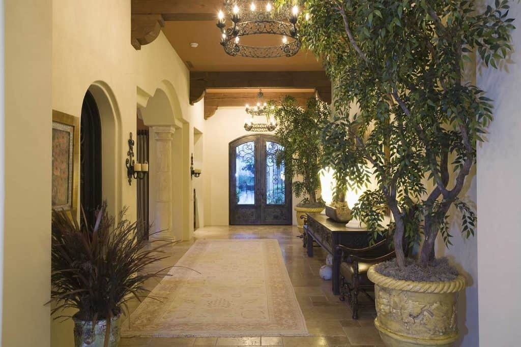 Front door and hallway of a large mansion with chandeliers