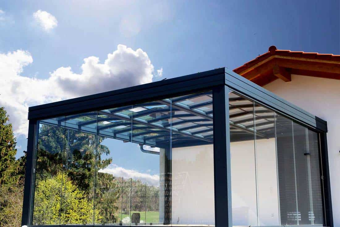 Glass wall front porch and steel framing