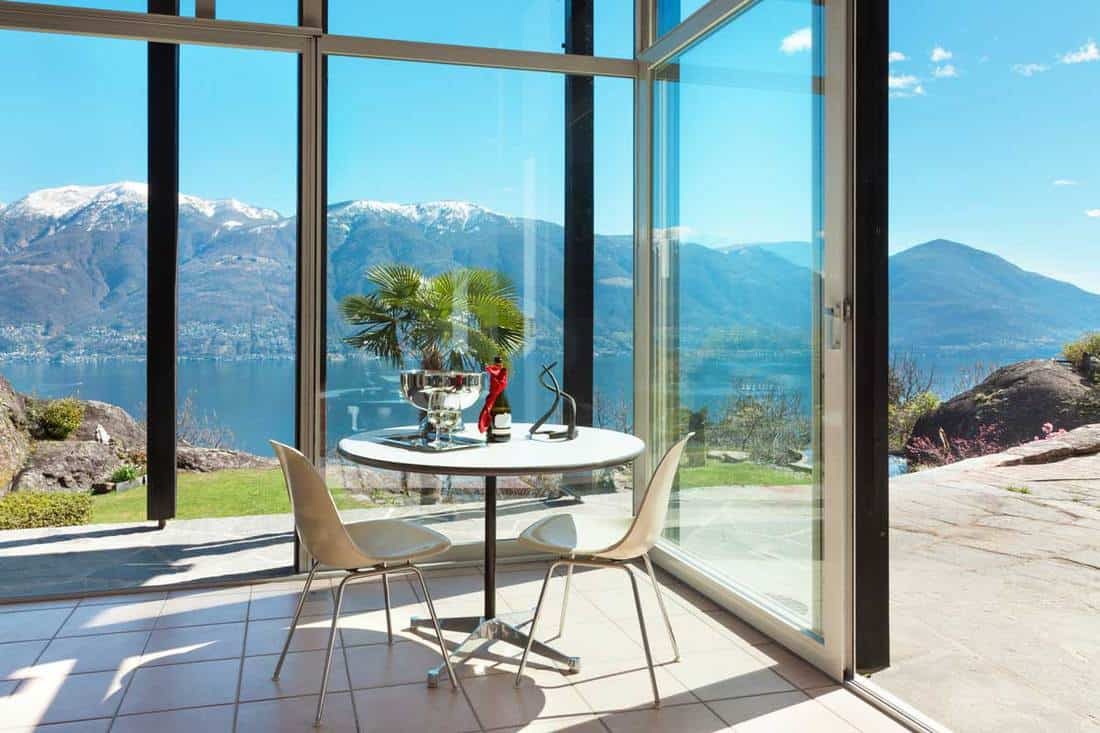 Glass walls with scenic view of a lake with mountains