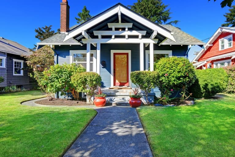 House exterior with curb appeal and glass red front door entrance, 27 Front Porch Decorating Ideas That Will Inspire You