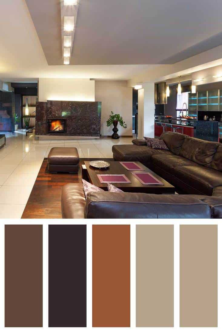 Living room area with brown leather sofa