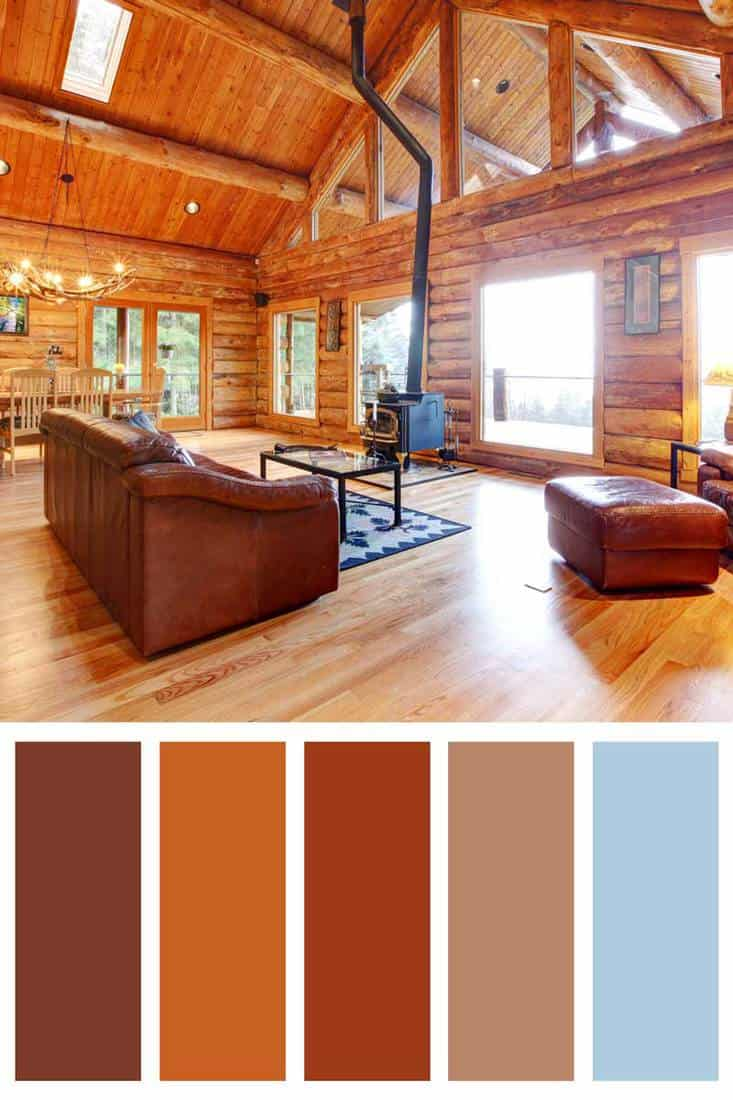 Luxury log cabin living room with leather sofa