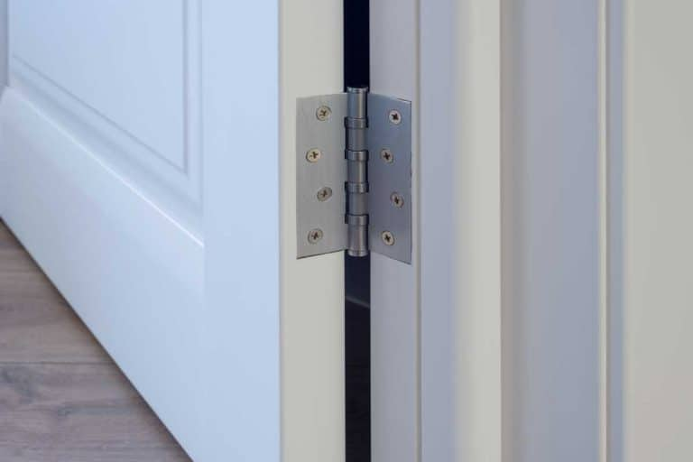 Metal chrome hinged hinges on a white interior door, Should Door Hinges Be Painted?