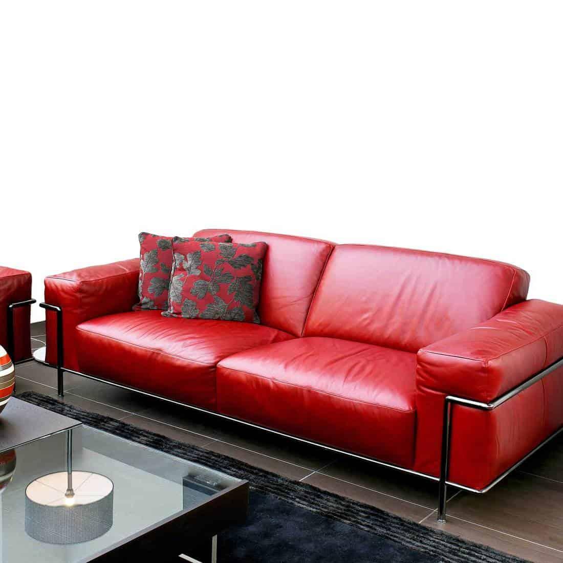 Red leather sofa and throw pillows