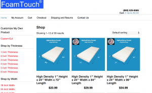 Foam Touch website product page