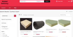 Global Delivery website product page