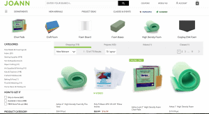 Joann website product page