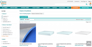 Online Fabric Store website product page