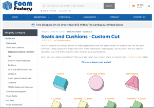 Foam Factory Inc. website product page