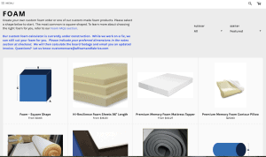 A-1 Foam & Fabrics website product page