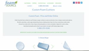 Foam Source website product page
