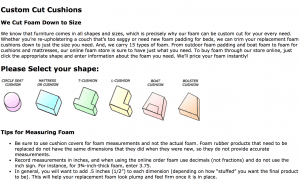 Buy Foam website product page