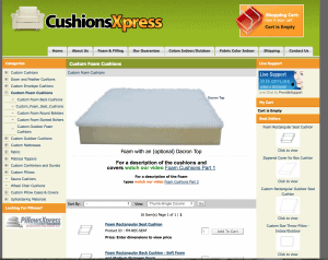 CushionsXpress website product page