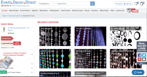Event Decor Direct page showing beaded curtains