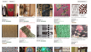Etsy page showing beaded curtains