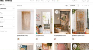 Urban Outfitters page showing beaded curtains
