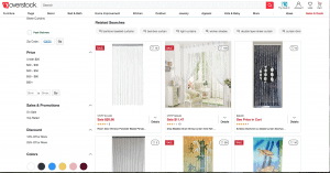 Overstock page showing beaded curtains
