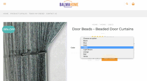 Balma Home page showing beaded curtains