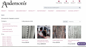 Anderson's page showing beaded curtains