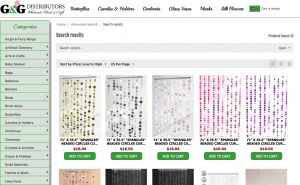 G&G Distributors page showing beaded curtains