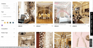 Shein page showing beaded curtains