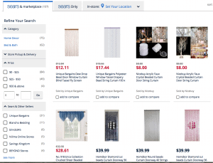 Sears page showing beaded curtains