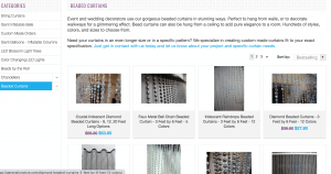 Generation Store page showing beaded curtains