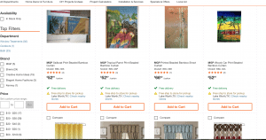 The Home Depot page showing beaded curtains