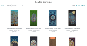 Beads Of Paradise page showing beaded curtains