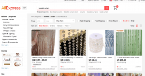 Ali Express page showing beaded curtains