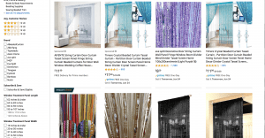 Amazon page showing beaded curtains