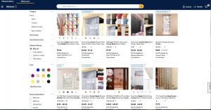 Walmart page showing beaded curtains