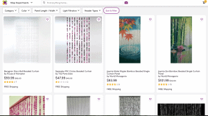 Wayfair page showing beaded curtains