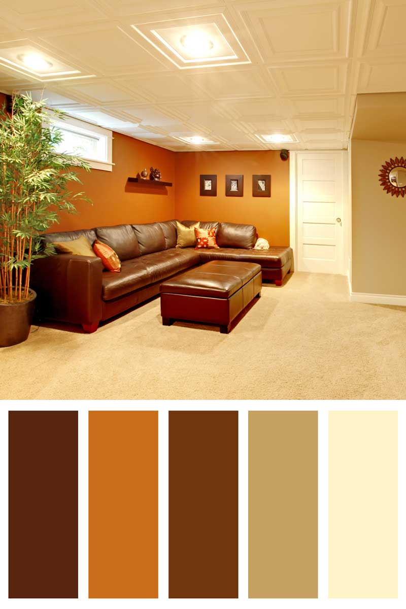 Tv media basement living room with leather sofa