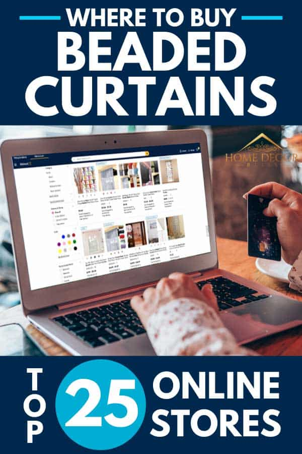 Woman holding her credit card buying beaded curtains online, Where To Buy Beaded Curtains [Top 25 Online Stores]