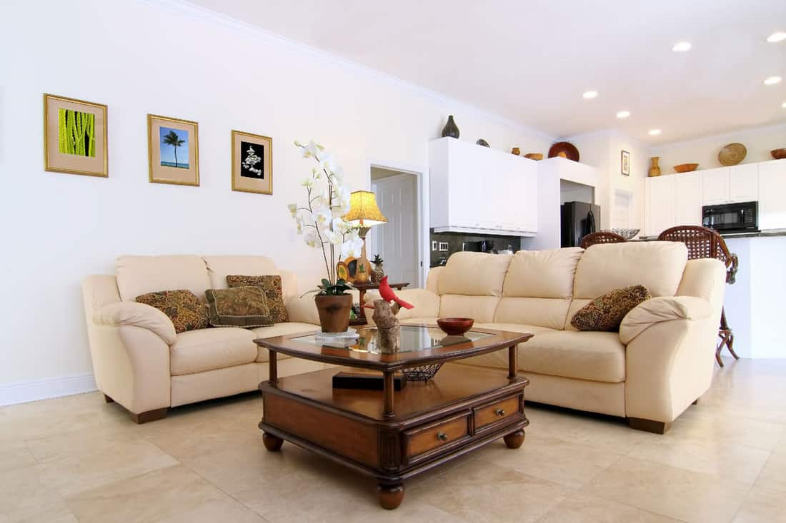 White walled living room with brown white colored sofa and coffee table on the middle