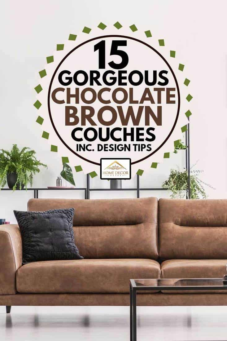 Patterned armchair next to chocolate brown leather couch in white living room interior in modern apartment, 15 Gorgeous Chocolate Brown Couches [Inc. Design Tips!]