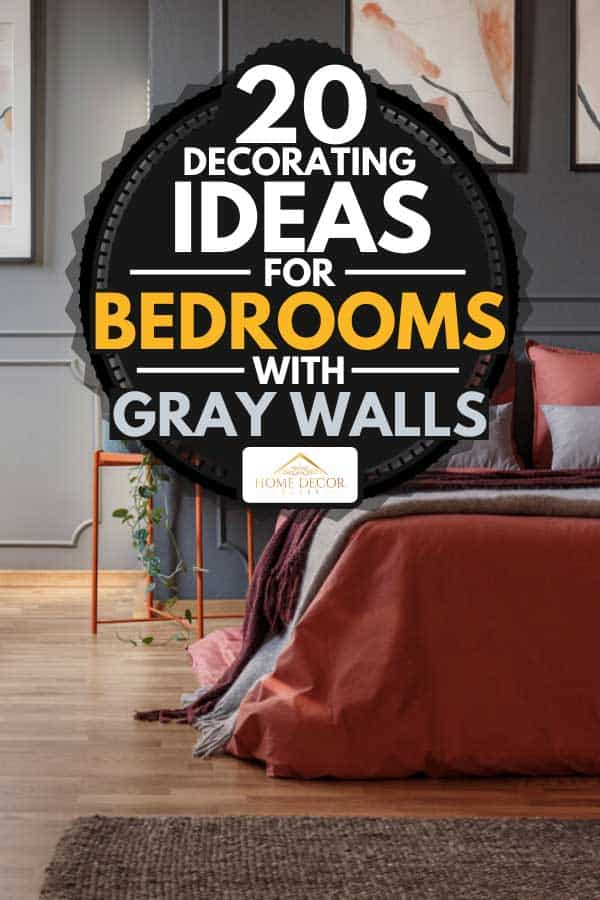 Bedroom with a gray wall, blanket, pillows and parquet floor, 20 Decorating Ideas For Bedrooms With Gray Walls