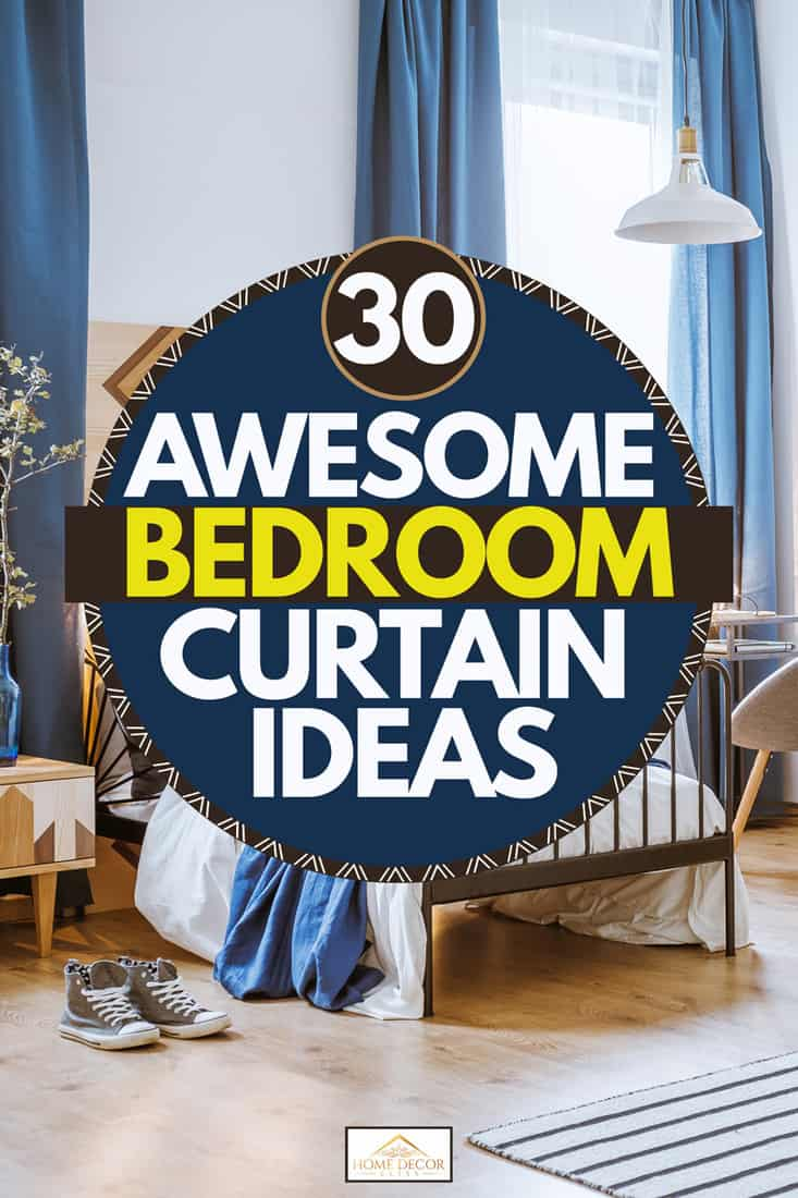 A rustic themed bedroom with large windows attached with blue floor to ceiling curtain, 30 Awesome Bedroom Curtain Ideas