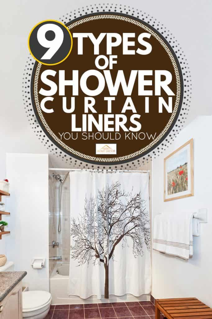 A modern bathroom with a white shower curtain and an old tree design on it, 9 Types of Shower Curtain Liners You Should Know