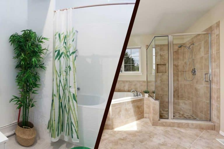 A collage shower curtain and a shower glass door, Shower Curtain vs Shower Glass Doors: Which Is Right for You?